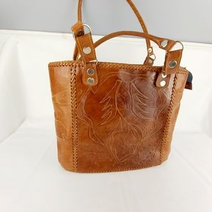 Tooled leather handbag purse